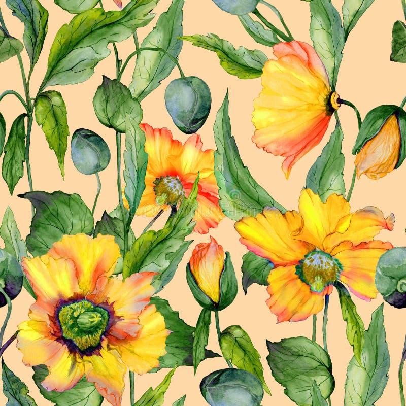 Den härliga apelsin- och gulingwelsh vallmo blommar med gröna sidor på beige bakgrund seamless blom- modell stock illustrationer