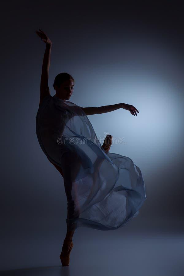 Den härliga ballerinadansen med blått skyler royaltyfri bild