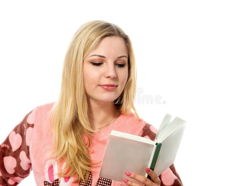 den härliga blondinen eyes barn för kvinna för fokusstående slappt arkivfoton
