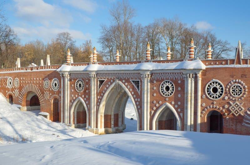 Den härliga bron i Tsaritsyno parkerar, Moskva, Ryssland arkivfoto