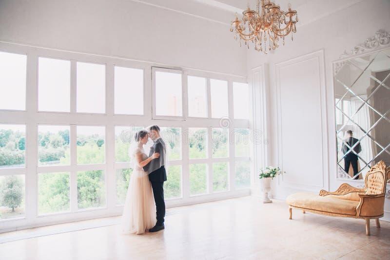 Den härliga brud- och brudgumståenden med skyler över framsida Stilfulla älska brölloppar som kysser och kramar royaltyfri foto