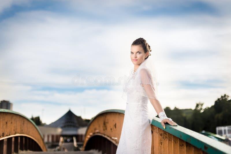 Den härliga brunettbruden som poserar på bron parkerar in royaltyfria foton
