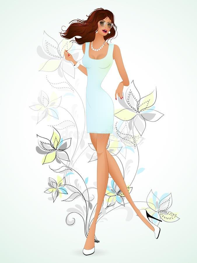 Den härliga brunetten i en ljus blåttklänning är på bakgrunden c royaltyfri illustrationer