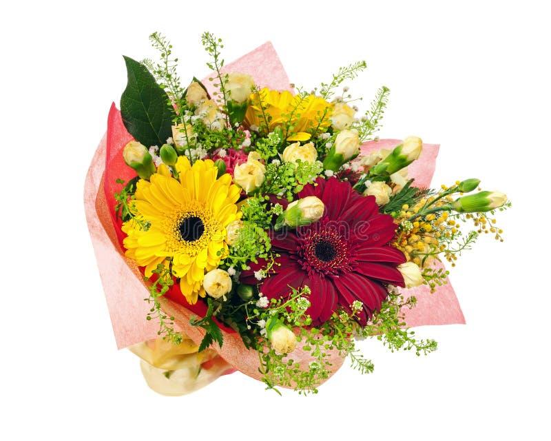 Den härliga buketten av gerberaen, nejlikor och annan blommar royaltyfria foton