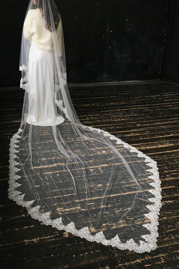 Den härliga damen i en lång vit bröllopsklänning i en pannkaka skyler På svart bakgrund arkivfoto