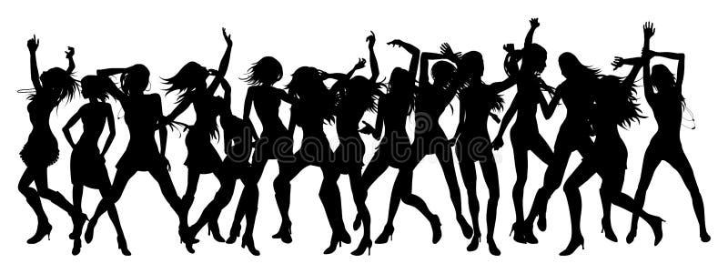 den härliga dansen silhouettes kvinnor vektor illustrationer