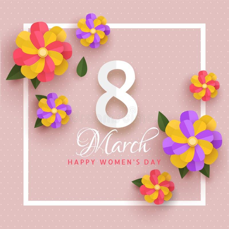 Den härliga designen för det hälsa kortet som dekorerades med färgrikt papper, klippte blommor för 8 kvinnors för marsch dag stock illustrationer