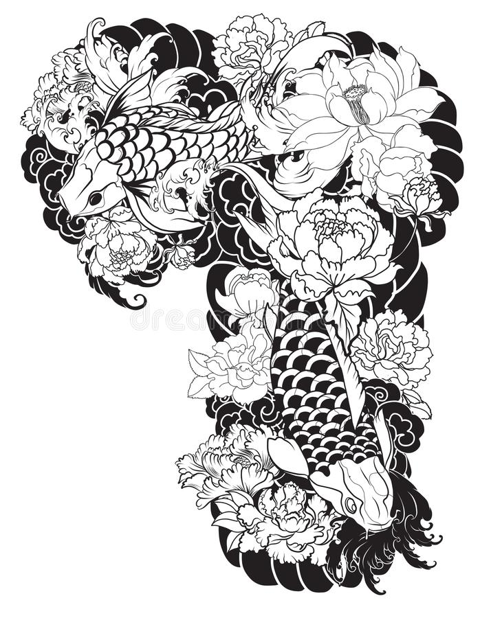 Den härliga färgrika Koi karpen med vattenfärgstänk, lotusblomma och pionen blommar Traditionell japansk tatueringdesign stock illustrationer