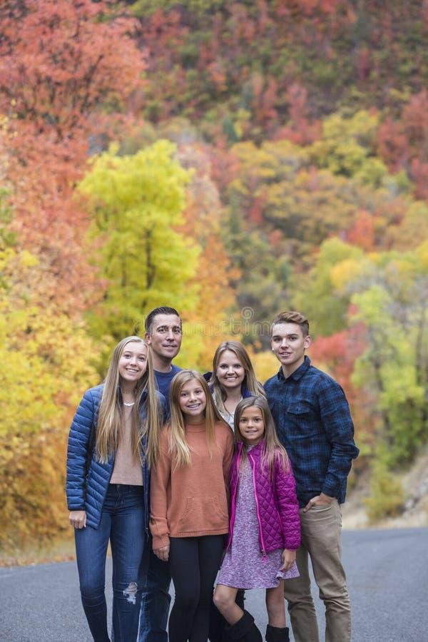 Den härliga familjståenden med nedgången färgar i bakgrunden royaltyfria bilder