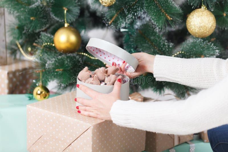 Den härliga flickan hänger en julleksak på julgranen lyckliga ferier royaltyfria bilder