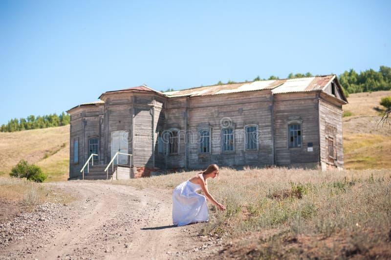 Den härliga flickan i en vit sommarklänning samlar lösa blommor på bakgrunden av ett gammalt stort trähus Begreppet av stillhet o royaltyfria bilder