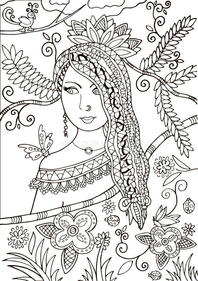 Den härliga flickan med krabbt hår - utforma zentangl vektor royaltyfri illustrationer