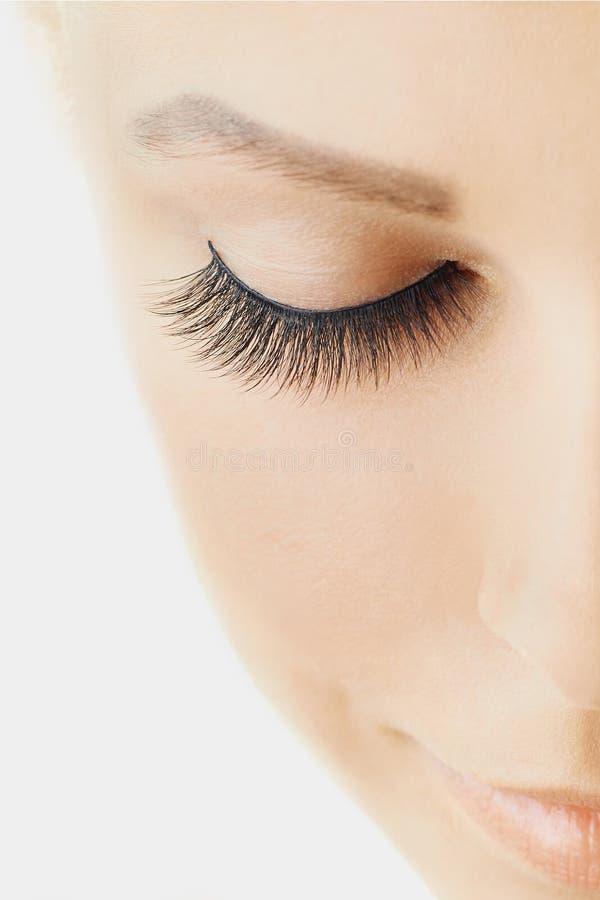 Den härliga flickan med långa falska ögonfrans och gör perfekt hud Ögonfransförlängningar, cosmetology, skönhet och hudomsorg arkivbilder