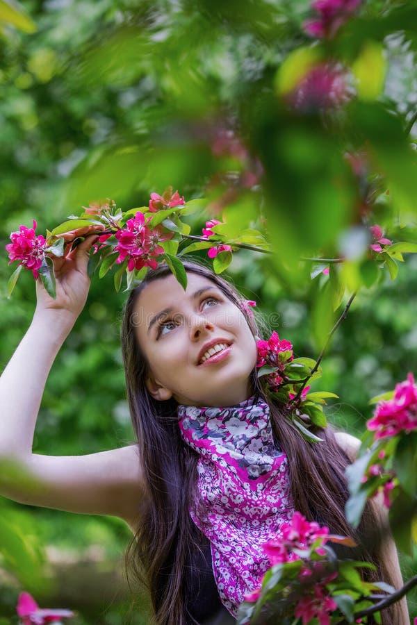 Den härliga flickan som rymmer en filial av äpplet, blomstrar arkivbilder