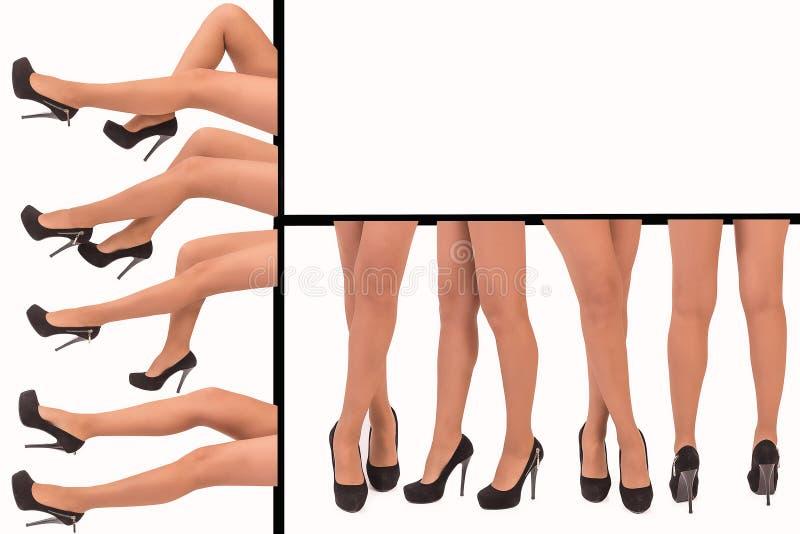 Den härliga foten för kvinna` s i svart hög-heeled skor royaltyfri bild