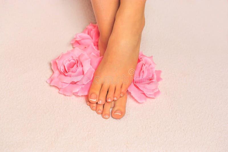 den härliga foten isolerad fransman spikar den perfekta brunnsorten för pedicuren royaltyfri foto