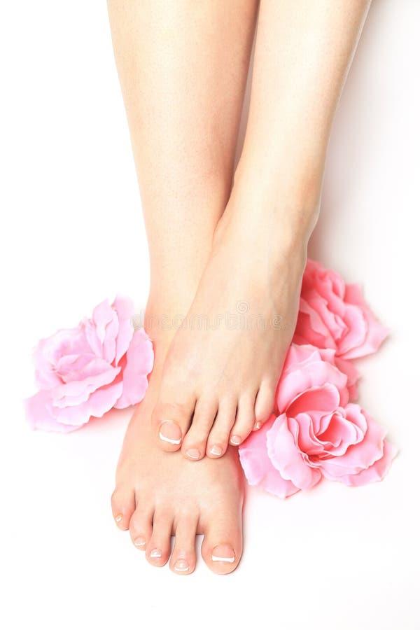 den härliga foten isolerad fransman spikar den perfekta brunnsorten för pedicuren fotografering för bildbyråer