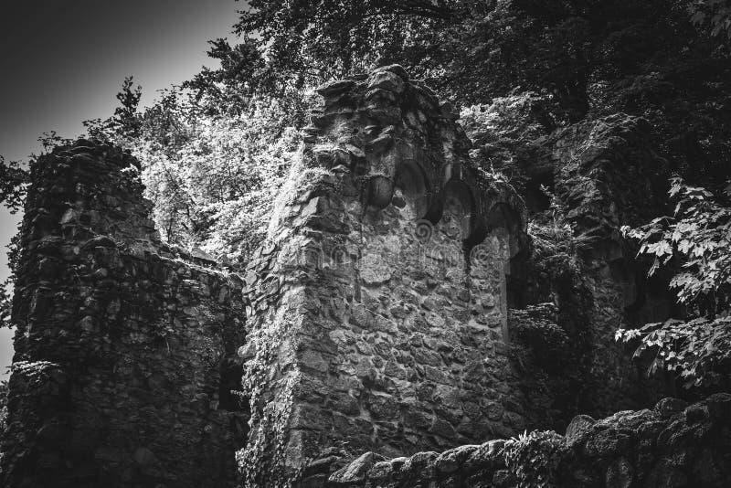 Den härliga gamla slotten i svart och Whiteold står högt fotografering för bildbyråer