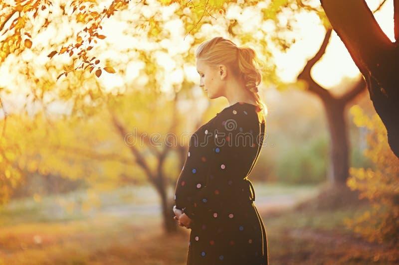Härlig gravid ung kvinna royaltyfri foto