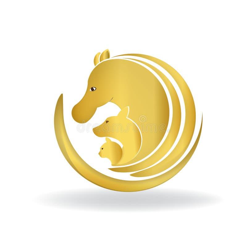 Den härliga guld- etiketten för symbolet för kortet för identiteten för den häst-, hund- och kattlogovektorn avbildar logotypen royaltyfri illustrationer