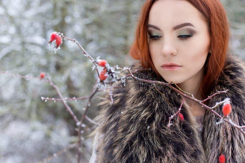 Den härliga gulliga sexiga unga flickan med rött hår som går i en snöig skog bland träden, missa första kvartalbuskar med röd yag royaltyfria foton