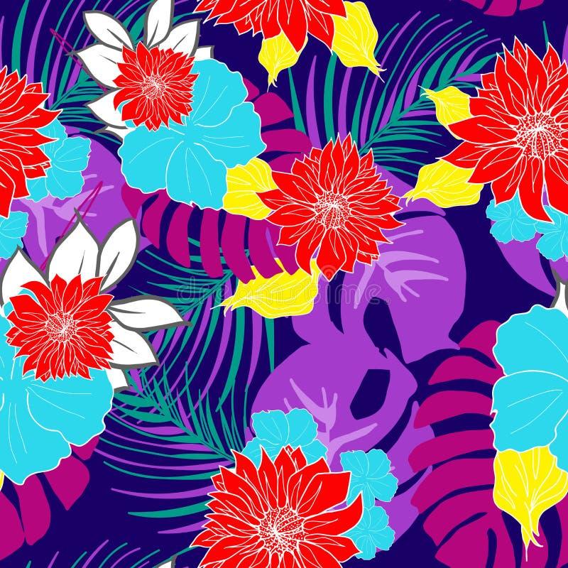 Den härliga handen mönstrar upprepade drog hawaianska tropiska blommor vektorn stock illustrationer