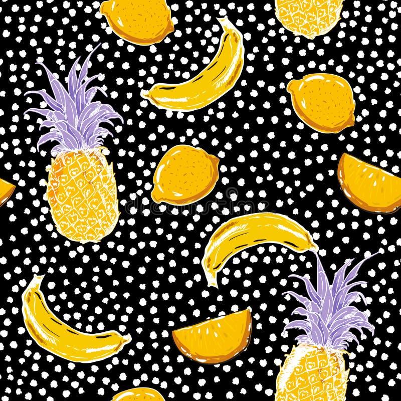 Den härliga handen skissar sommarfruktcitronen, ananas, bananen, seamle vektor illustrationer