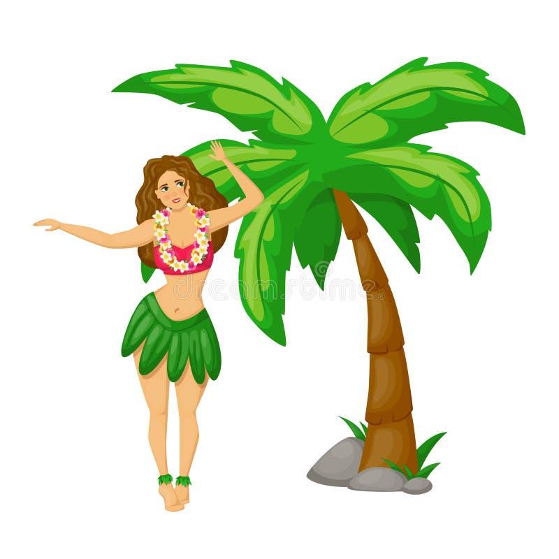 Den härliga hawaianska flickan i traditionell klänningdans bredvid gömma i handflatan vektor illustrationer
