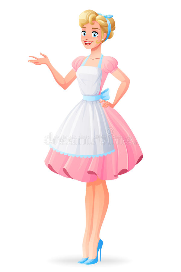 Den härliga hemmafrun, i rosa färger, klär och att framlägga för förkläde också vektor för coreldrawillustration royaltyfri illustrationer