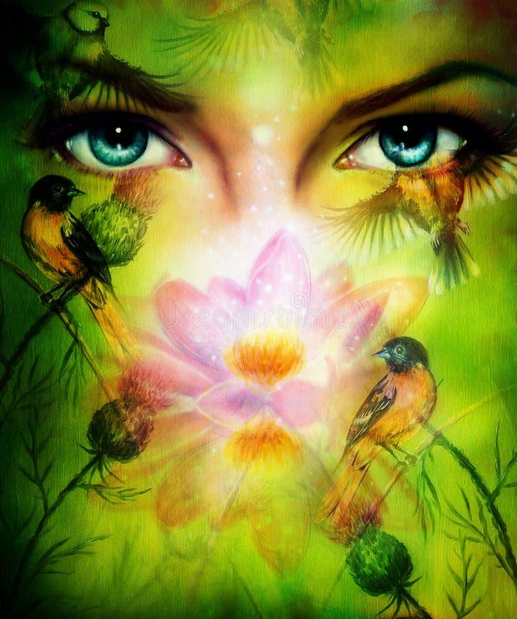 Den härliga illustrationen, blåa godhetkvinnaögon gör grön bakgrund royaltyfri illustrationer