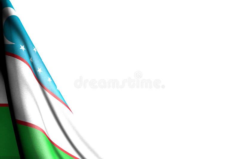 Den härliga isolerade bilden av den Uzbekistan flaggan hänger diagonalt - modellen på vit med stället för innehåll - någon berömf stock illustrationer