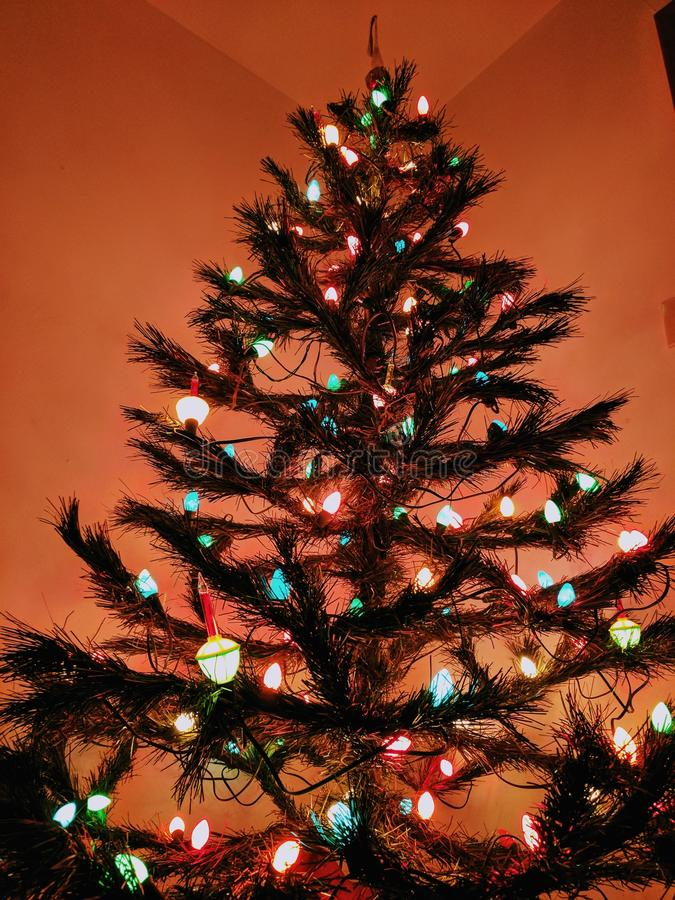 den härliga julen detailed tappning för vektorn för elaborationillustrationtreen arkivfoton
