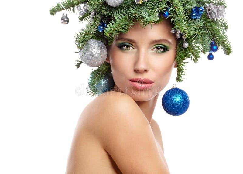 Den härliga julgranferiefrisyren och gör royaltyfri bild