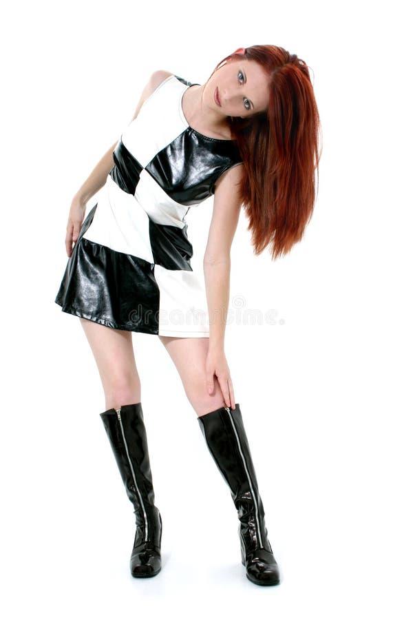 den härliga klänningen går läderkvinnabarn royaltyfria foton