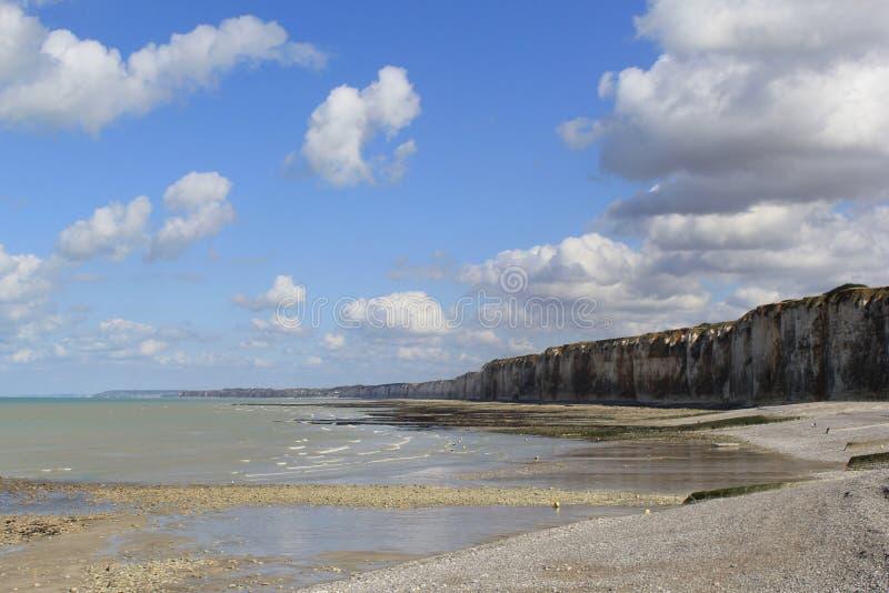 Den härliga klippakusten med lågvatten och en blå himmel med moln i Normandie royaltyfria bilder