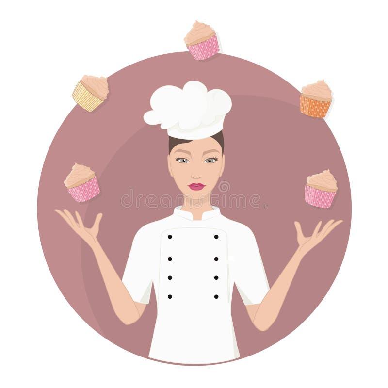 Den härliga kvinnan för den ledar- kocken jonglerar med muffin stock illustrationer