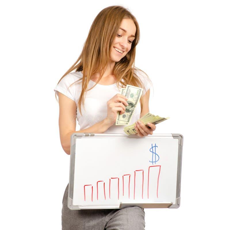 Den härliga kvinnan i dollarna för pengar för tillväxt för handwhiteboardattraktion kartlägger affär royaltyfri bild