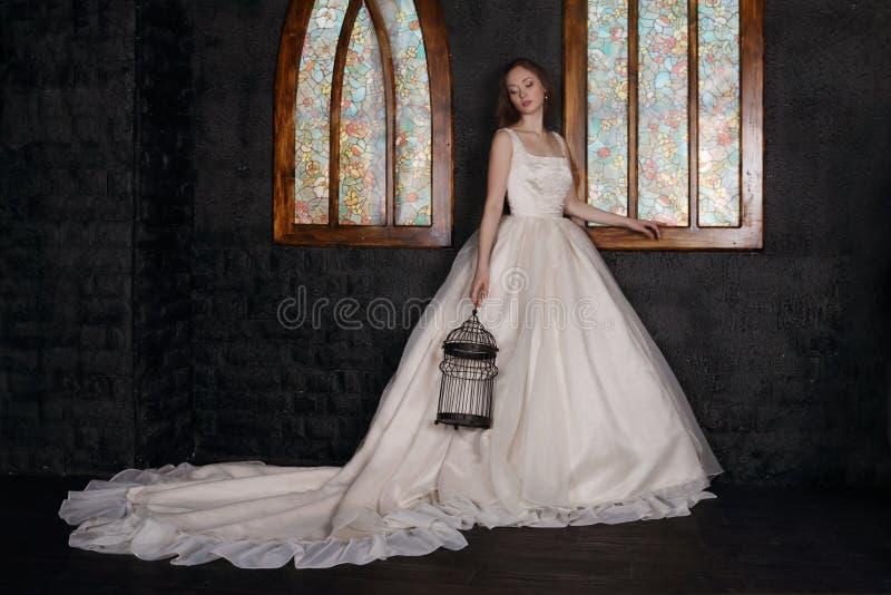 Den härliga kvinnan i lång klänning rymmer fågelburen royaltyfri fotografi