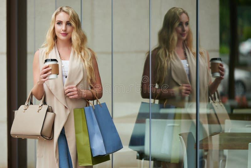 Den härliga kvinnan med shopping hänger lös arkivfoton