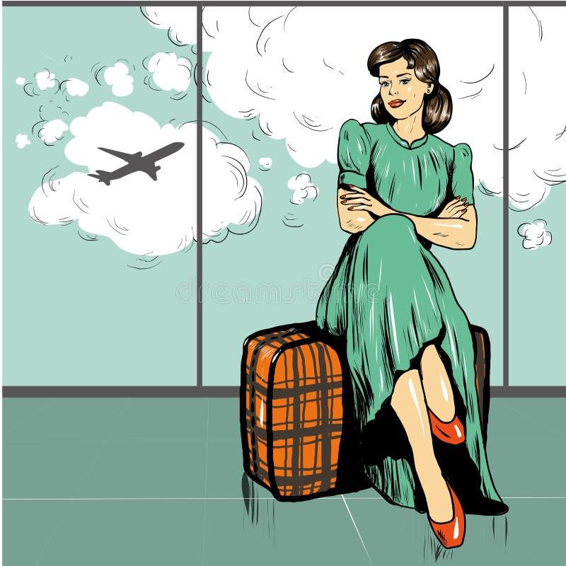 Den härliga kvinnan sitter på en påse i flygplats royaltyfri illustrationer