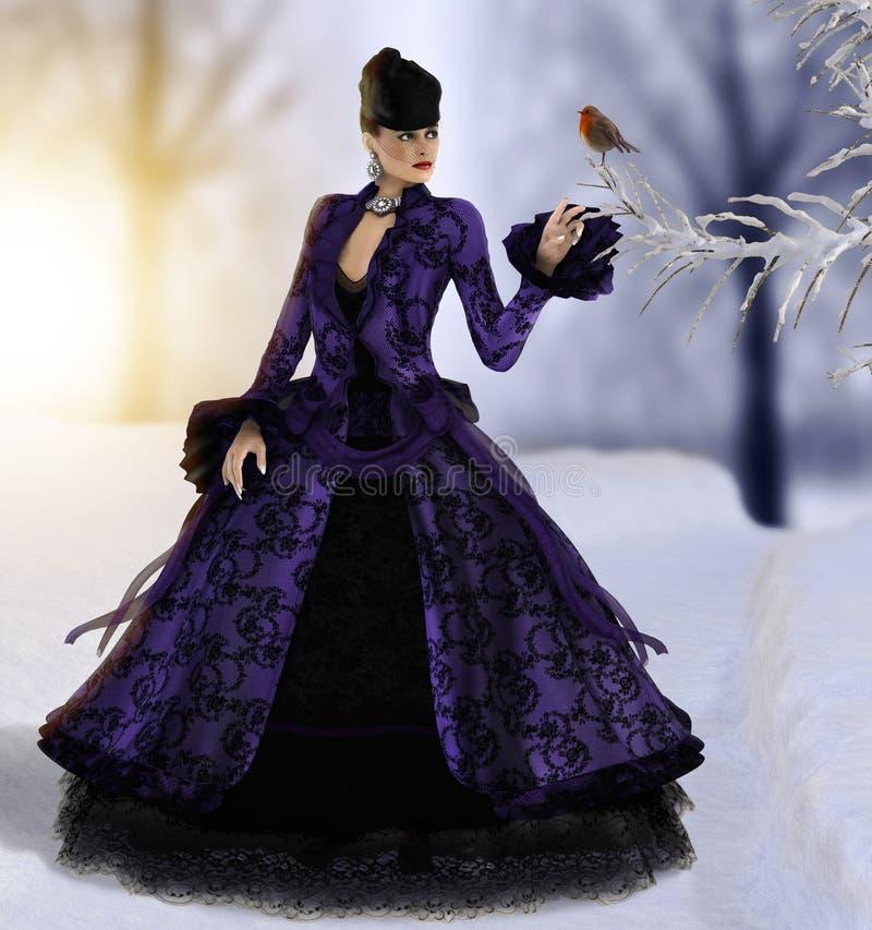 Den härliga kvinnan som går i vinter, håller ögonen på fågeln stock illustrationer