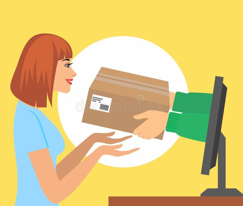 Den härliga kvinnan väljer upp en gåva av händer från datorbildskärm vektorillustrationbegrepp för gåvahemsändning, e-comm stock illustrationer
