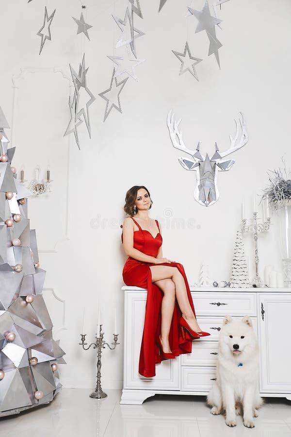 Den härliga långbenta modellflickan i den trendiga röda klänningen sitter på byrån nära silverjulen royaltyfri foto