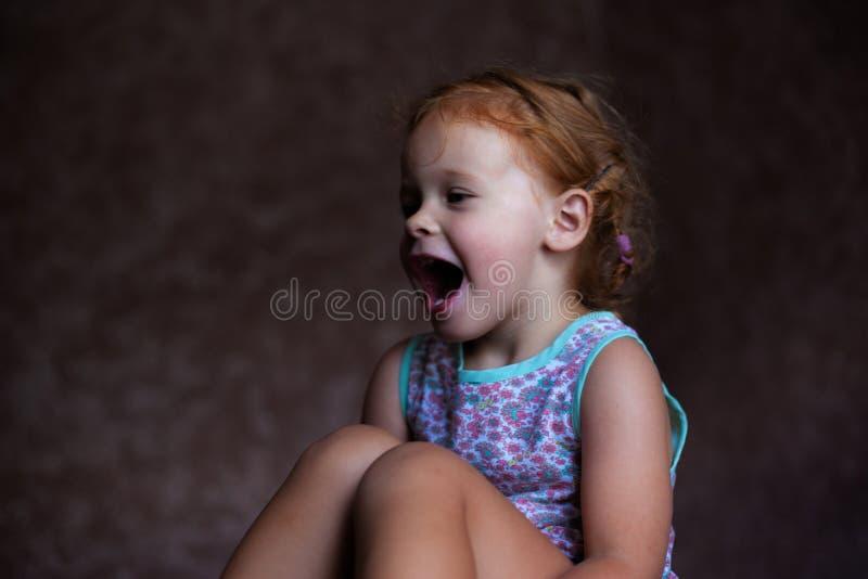 Den härliga lyckliga gulliga lilla rödhårig manflickan ler uppriktigt och skrattar med ett mjukt ljus från fönsterlivsstilen royaltyfria foton