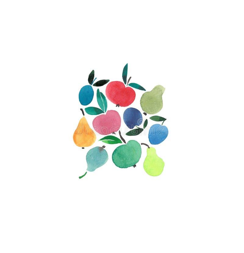 Den härliga mångfärgade fruktgruppen i mittvattenfärghanden skissar royaltyfria bilder
