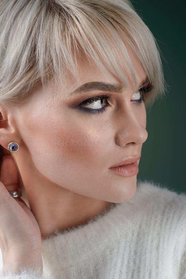 Den härliga modellen med lyxigt försilvrar smycken Kvinnan bär försilvrar smycken royaltyfria foton