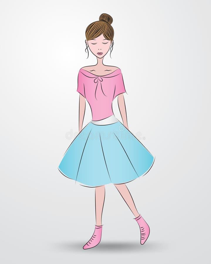 Den härliga modemodellen, gullig flicka i den härliga klänningen, tecknad film, skissar teckningen, för skönhetsmedel, brunnsorte vektor illustrationer