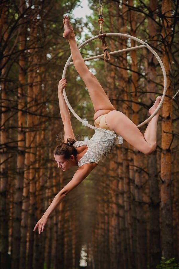 Den härliga och behagfulla flyg- gymnasten gör övningar på cirkeln arkivfoton