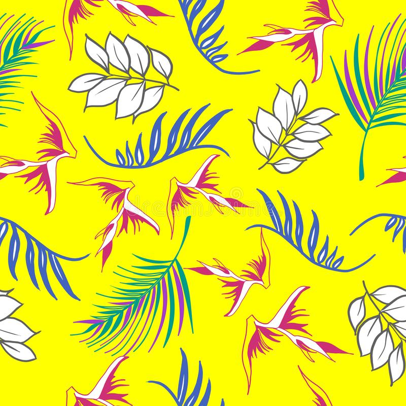 Den härliga och färgrika handen mönstrar upprepade drog hawaianska tropiska blommor vektorn royaltyfri illustrationer