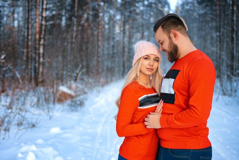 Den härliga paranseendearmen i arm i den röda tröjan i bakgrunden av skogen i vinter, går i vinterträna royaltyfri bild